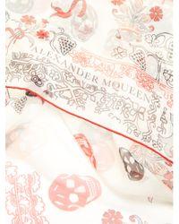 Alexander McQueen - Multicolor Heraldic And Skull-print Silk-chiffon Scarf - Lyst