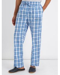 Derek Rose Blue Ranga Checked Cotton Pyjama Trousers for men