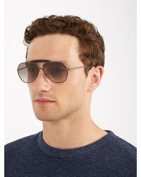 Prada - Black Tinted Aviator Sunglasses for Men - Lyst
