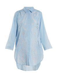 Juliet Dunn - Blue Embroidered Paisley Cut-out Cotton Shirtdress - Lyst