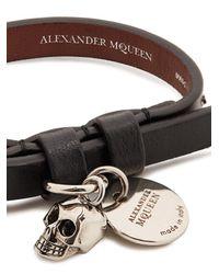 Alexander McQueen - Multicolor Skull-charm Leather Bracelet for Men - Lyst