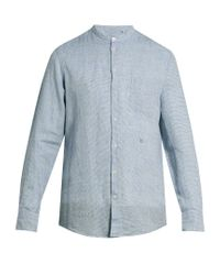 Massimo Alba - Blue Noto Granddad-collar Striped Linen Shirt for Men - Lyst