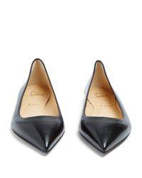 Christian Louboutin - Black Ballalla Point-toe Leather Flats - Lyst