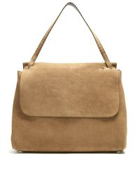 The Row - Natural - Top Handle 14 Suede Shoulder Bag - Womens - Khaki - Lyst