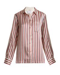 Asceno - Red Patch Pocket Striped Silk Pyjama Shirt - Lyst