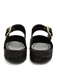 Prada - Black Double-strap Velvet Flatform Sandals - Lyst