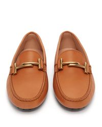 Tod's - Brown Gommino Double T Leather Loafer - Lyst