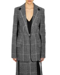 Calvin Klein | Gray Leather-Panel Checked Wool Blazer | Lyst