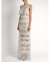 Elie Saab - White Sleeveless Macramé-lace Gown - Lyst