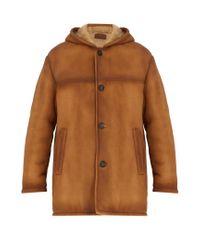 Prada - Brown Hooded Shearling Coat for Men - Lyst