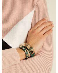 Valentino - Green Rockstud Leather Bracelet - Lyst