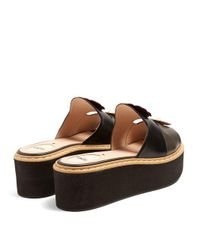 Fendi - Brown Flowerland Leather Flatform Slides - Lyst