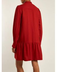A.P.C. - Red Jones Long-sleeved Striped Crepe Dress - Lyst