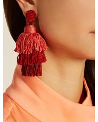 Oscar de la Renta - Tiered Tassel-drop Clip-on Earrings - Lyst