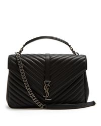 82e92dc7880f Saint Laurent Collège Large Quilted-leather Shoulder Bag in Black - Lyst