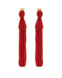 Oscar de la Renta - Red Bead-embellished Tassel-drop Clip-on Earrings - Lyst