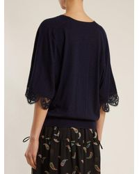 Chloé Blue Lace-trimmed Wool Sweater