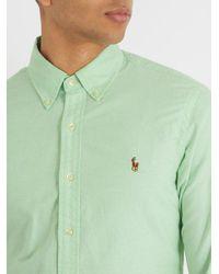 Polo Ralph Lauren - Green Logo-embroidered Cotton-oxford Shirt for Men - Lyst