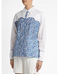 Thierry Colson Blue Rick Leaf-print Cotton Shirt
