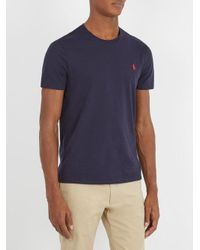 Polo Ralph Lauren - Blue Logo-embroidered Cotton-jersey T-shirt for Men - Lyst