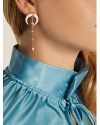 Jacquie Aiche - White Diamond, Bone-horn & Rose-gold Earring - Lyst
