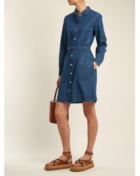 A.P.C. - Blue Jane Mandarin-collar Cotton Shirtdress - Lyst