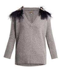 Johanna Ortiz - Gray Hierbatera Feather-brooch Cashmere Sweater - Lyst