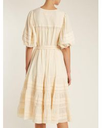 Zimmermann - Natural Prima Tuck Tie-waist Cotton Dress - Lyst