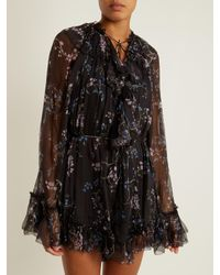 Zimmermann | Black Paradiso Floating Floral-print Silk Playsuit | Lyst