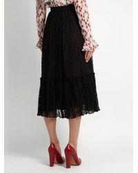 Valentino - Black Frilled-hem Lace Skirt - Lyst