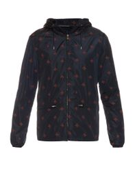 Gucci | Blue Detachable Hood Bee-print Nylon Jacket for Men | Lyst