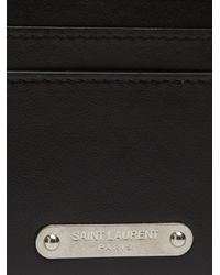 Saint Laurent - Black Logo-plaque Leather Cardholder for Men - Lyst