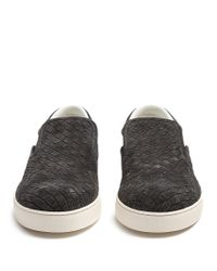 Bottega Veneta - Black Dodger Intrecciato Suede Trainers for Men - Lyst