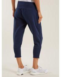 Adidas By Stella McCartney - Blue Essentials Cotton Blend Cropped Sweatpants - Lyst