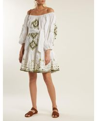 Juliet Dunn - White Sequin Embellished Embroidered Cotton Dress - Lyst
