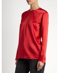 Raey Red Crew-neck Silk-satin Blouse