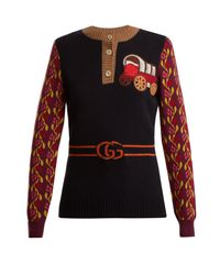 Gucci - Multicolor Wagon And Tiger-appliqué Wool-blend Sweater - Lyst