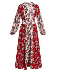 Dodo Bar Or | Red Harrison Paisley-print Silk Midi Dress | Lyst