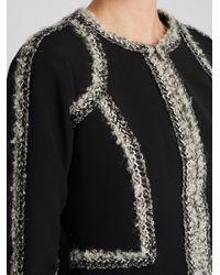 Oscar de la Renta - Black Tweed-trimmed Peplum-hem Cady Jacket - Lyst