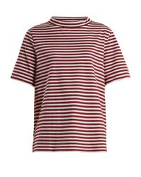 MiH Jeans Red Penny Striped Cotton-jersey T-shirt