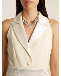 Lanvin - Metallic Twisted Faux-pearl And Chain Necklace - Lyst