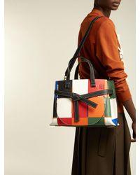 Loewe - Black Gate Patchwork Leather Tote Bag - Lyst