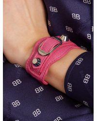 Balenciaga - Pink Classic Metallic Edge Leather Bracelet - Lyst