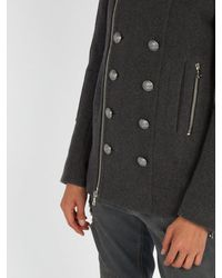 Balmain - Gray Wool Duffel Coat for Men - Lyst