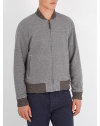 Faherty Brand Gray Newbury Reversible Cotton Bomber Jacket for men