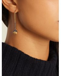 Bottega Veneta - Metallic Intrecciato-engraved Long Earrings - Lyst