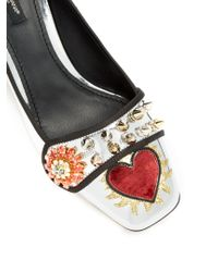 Dolce & Gabbana - Multicolor Crystal-embellished Appliqué Leather Pumps - Lyst