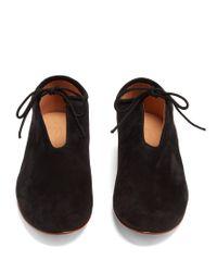 Martiniano - Black Bootie Tie-front Suede Flats - Lyst