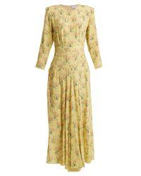Raey - Yellow Bracelet-sleeve Acid Tree-print Silk Dress - Lyst