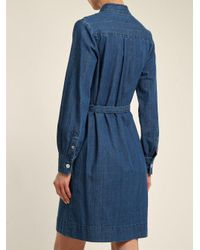 A.P.C. - Blue Jane Mandarin-collar Cotton Shirtdress - Lyst
